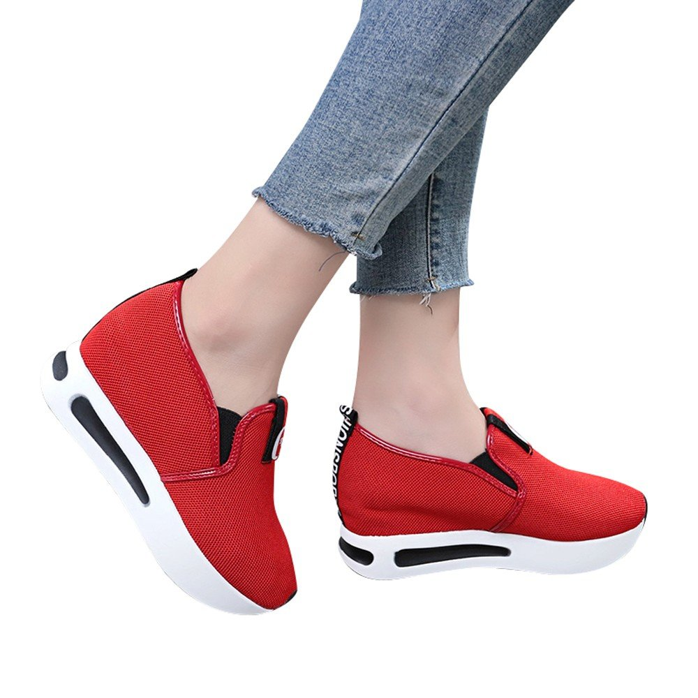 Shoes For Womens -Clearance Sale ,Farjing Women Casual Net Shoe Breathable Mesh Slope Thick Platform Shoes(US:5,Red)