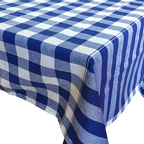 HomeHero Gingham Checkered Tablecloth, Blue, Rectangular Linen Table cloth - Size 44