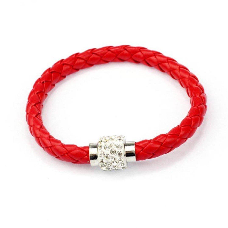 Fulltime® 1PC Wristband magnétique cuir strass Boucle Wrap Bracelet, Multiple Couleur Multiple Couleur (blanc)