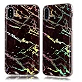 DAMONDY iPhone X Case, Shiny Marble Design 3D Glitter Ultra Thin Slim Back Skin Full Body Protective Soft TPU Bumper Rubber Case Phone Cover For Apple iPhone X (2017)-brown