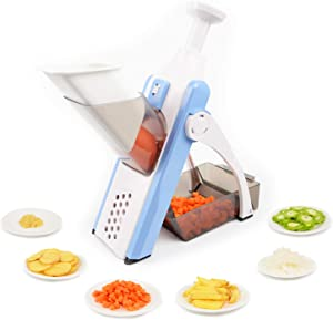 Mandoline Safe Slicer, Adjustable Chopper Vegetable Cutter with Multi Adjustable Settings and Catch Tray, Quick Vegetable Slicer French Fry Maker Chops, Slices, Strips,Juliennes and Dices
