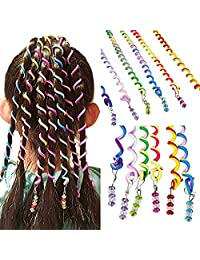 Girls 12 Pcs Hair Twist DIY Tool Stylish Hair Accessories with Beads Multicolor