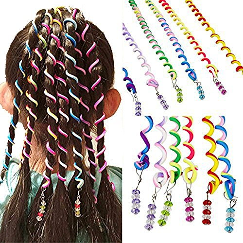 Stylish Twist - Girls 12 Pcs Hair Twist DIY Tool Stylish Hair Accessories with Beads Multicolor,Multicolor,Length: 9.84