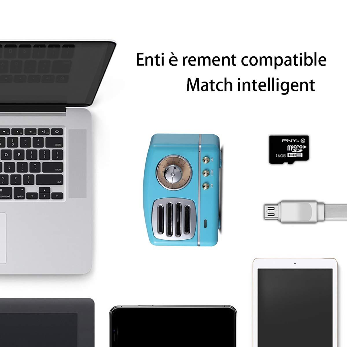 Mini altavoz inalámbrico, HM11 Retro con Bluetooth altavoz estéreo con salida 3 W, lectura super larga duración, carga USB - Funciona con iPhone, iPad, ...
