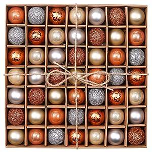 Valery Madelyn Palle di Natale 49 Pezzi 3 cm Addobbi Natalizi per Albero, Rame da Bosco e Oro Infrangibile Ornamenti Palla di Natale Decorazione per Albero di Natale Decor 8 spesavip
