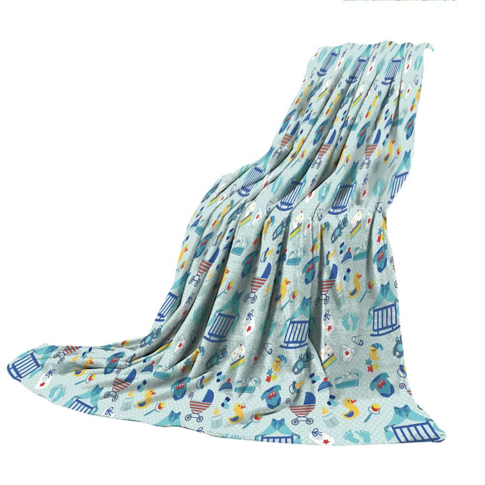 SCOCICI Creative Flannel Printed Blanket for Warm Bedroom,Baby,Newborn Sleep Crescent Moon Pacifier Nursery Star Polka Dots Image Decorative,Pale and Violet Blue Yellow,47.25'' W x 59.06'' H