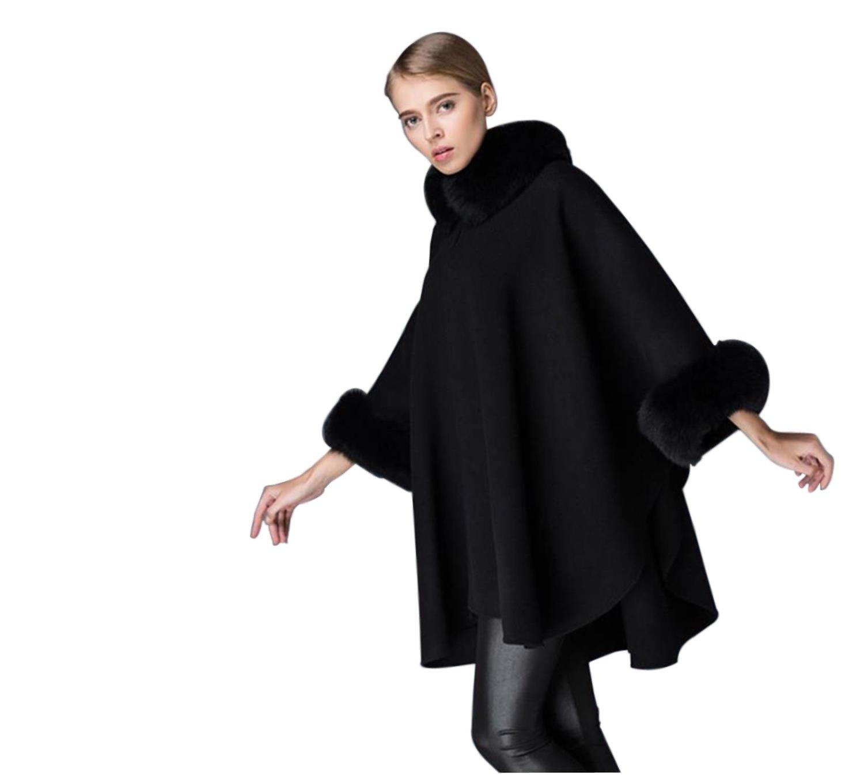 Pretydress Women Cotton Warm Bat Sleeve Wool Short Fashion Cloak For Autumn Winter(Black)