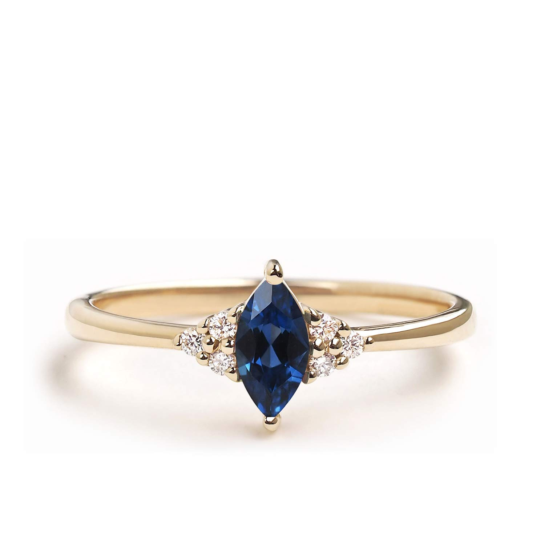 14K Yellow Gold Blue Sapphire Engagement Ring Set Luxury Jewelry Women Size 6-10