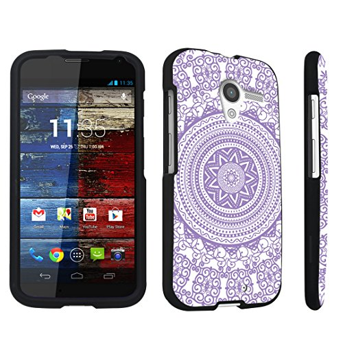 DuroCase ® Motorola Moto X 2013 First Generation Hard Case Black - (Tribal Medallion Purple)