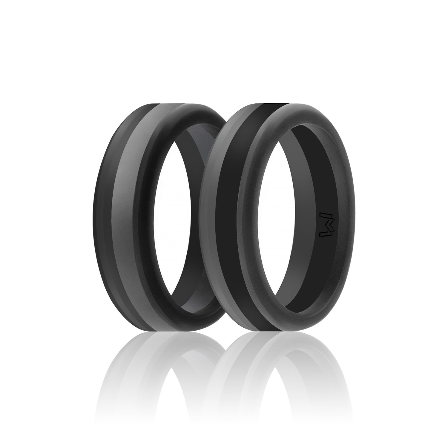 Wigerlon Mens Silicone Wedding Ring& Wedding Bands Skin Safe for Active Athletes, Workout, Military Width 8mm Pack of 2