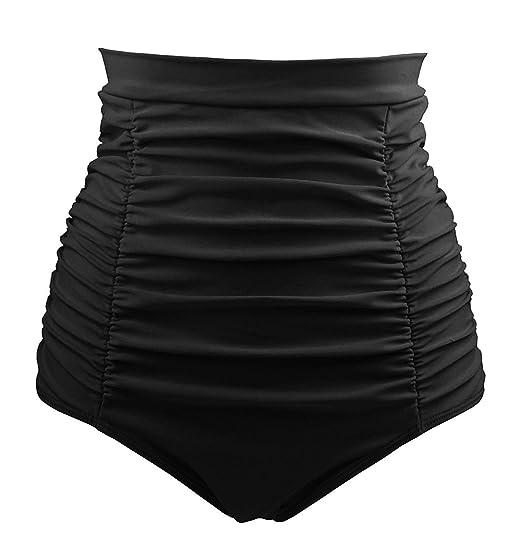 cc0d8e6ab04 DANIFY Women s Plus Size Retro High Waisted Bikini Bottom Ruched Swim Short Tankinis  Black