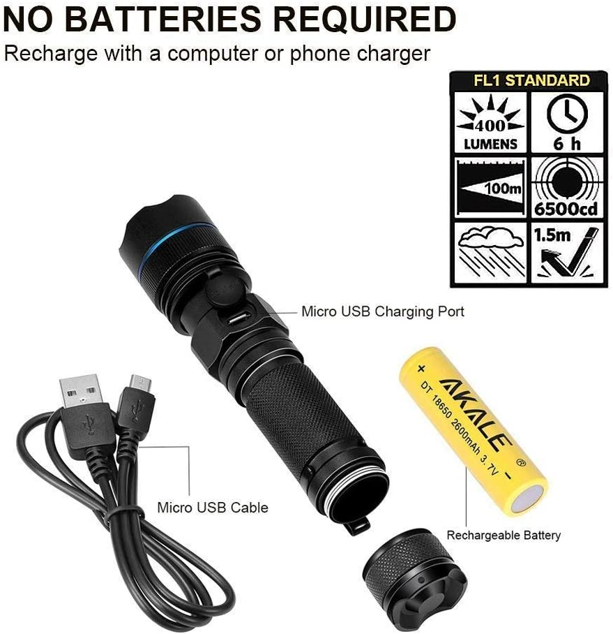 Pocket-Sized LED Torch IP65 Water Resistant 5 Modes Akale Rechargeable LED Flashlight Camping, Hiking, and Cycling Use Super Bright 400 Lumens CREE LED Indoors and Outdoors Zoomable 2 PACK