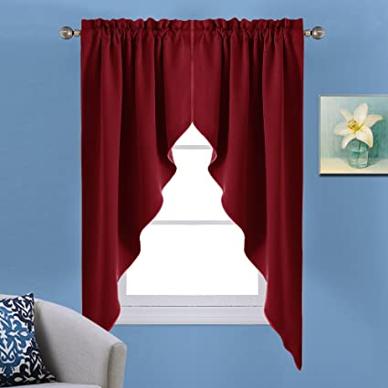 Bon NICETOWN Blackout Kitchen Tier Curtains  Tailored Scalloped Valance/Swags  For Basement (1 Set