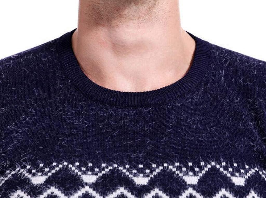 Heless Men Long Sleeve Print Crew Neck Knit Regular Fit Basic Pullover Sweater