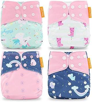 4PCS, Orange Fox Muster HahaGo Baby Stoffwindel waschbar wiederverwendbare Windeln All-in-One-Taschenwindel f/ür die meisten Babys und Kleinkinder