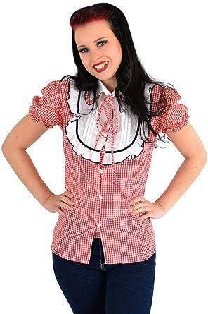 Unbekannt Damen Oberteil Gingham Pepita Vintage Bluse Rot Weißes  Pepitamuster S 61143515ea