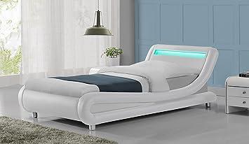 madrid designer led lights headboard faux leather bed frame black white or black u0026 white