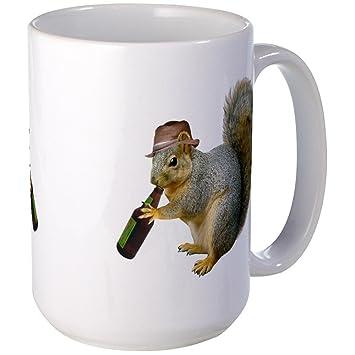 5572dbe7bf8ab CafePress - Squirrel Beer Hat Large Mug - Coffee Mug