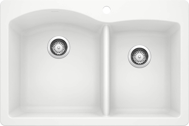 Blanco White 440216 Diamond Silgranit 60 40 Double Bowl Drop In Or Undermount Kitchen Sink 33 X 22 Double Bowl Sinks Amazon Com