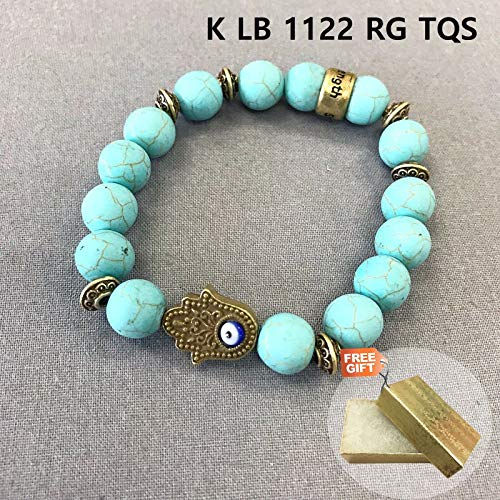 Gold Finished Turquoise Stones EVIL EYE, HAMSA Beads Stretchable Bangle Fashion Jewelry Bracelet For Women + Gold Cotton Filled Gift Box for Free