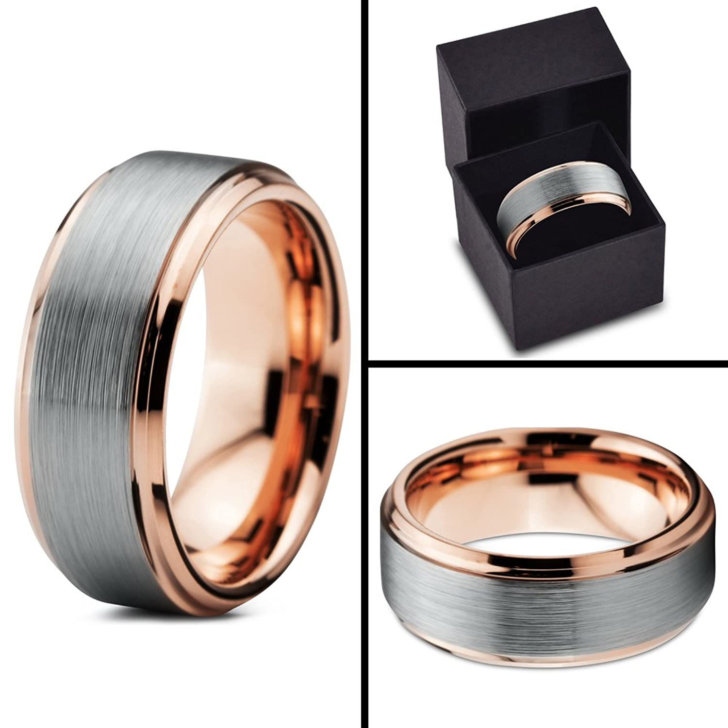 s goldsmiths showcase gold strip smooth ring white carat and mens wedding metal of mccaul men hammered bi shown combines bands rose a the with band here