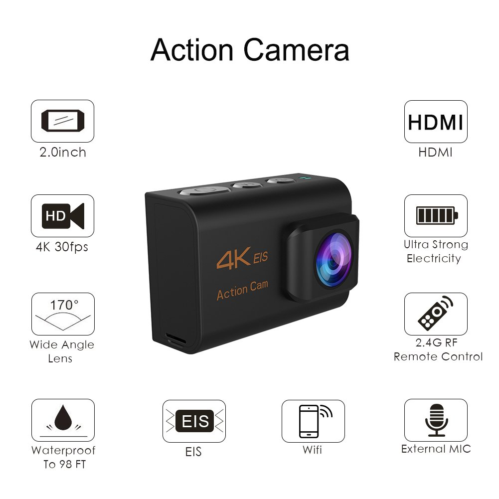 CrazyFire EIS Action Camera 4K 16.0MP HD Waterproof DV Camcorder-170 Degree Wide Angel Wifi and 2.4G Sport Camera with Dual Mic and Travel Bag Include Mounting Accessories Kit by CrazyFire (Image #1)