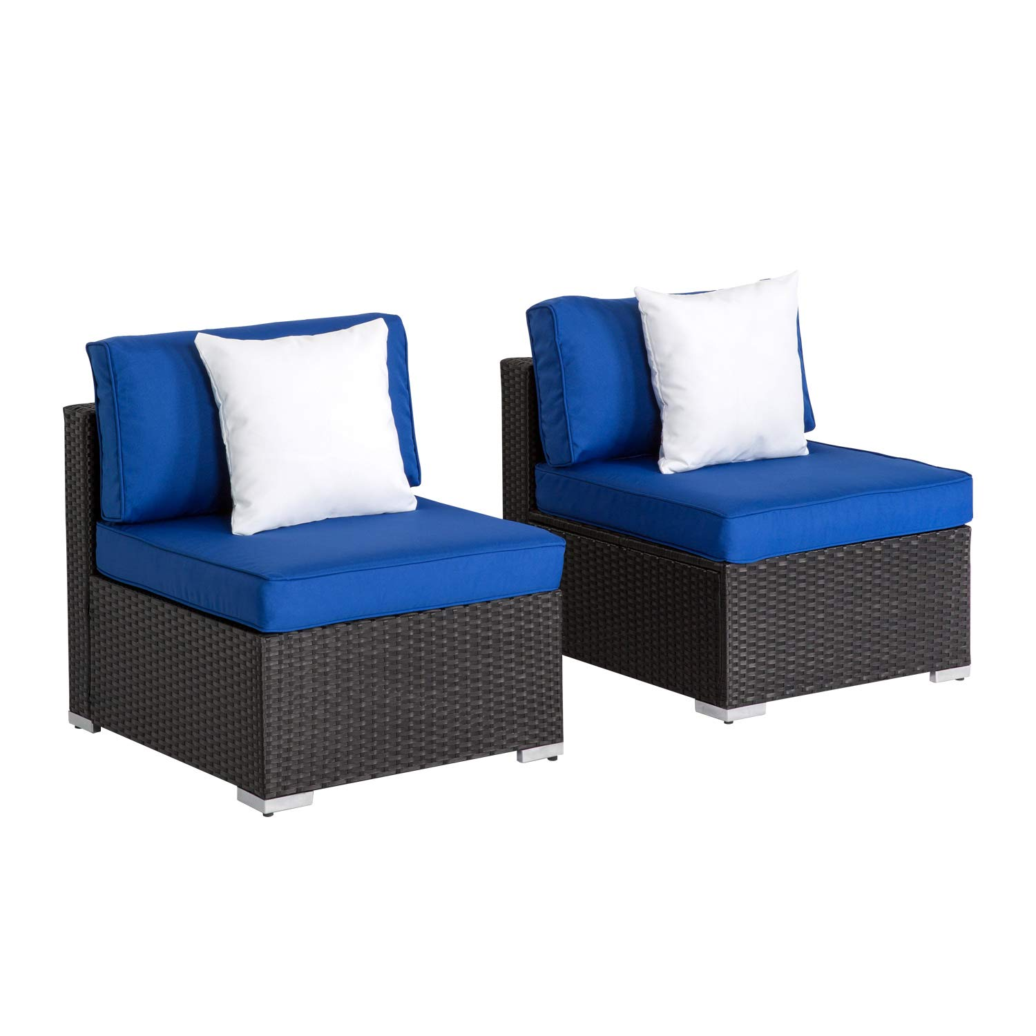 Kinbor Patio Loveseat Wicker Armless Chairs, All Weather Black PE Wicker Sofa Chair,Additional Seats for Sectional Sofa