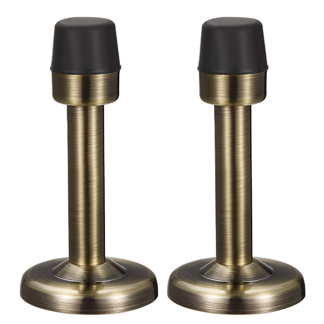 uxcell Door Stopper Stop Bumper Wall Protector Sound Dampening Wall Mount w Rubber Tip Bronze Tone 2pcs
