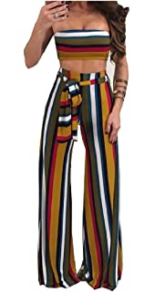 21902d53f7 Mfasica Womens Chest Wrapped 2 Pieces Straps Colorful Stripes Baggy Jumpsuit  Romper