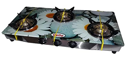 Cello 3 Burner Digital Toughened Glass Top Gas Stove (Mayweed)