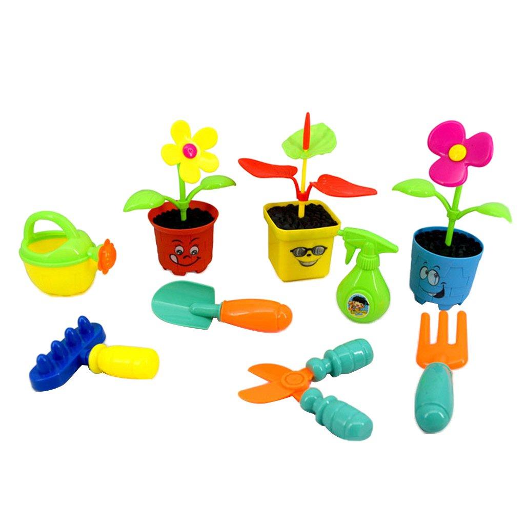 B Blesiya 9 Pieces Little Garden Tools, Gardening Set, Kids Role Play Gardener Toy