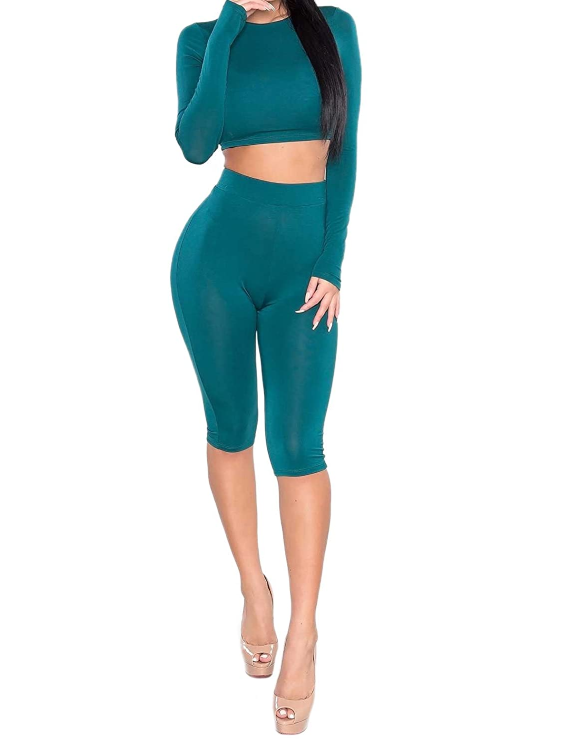 Womens Sexy Long Sleeve Crop Tops Capri Pants Leggings Tights 2 Pieces Set Bodycon