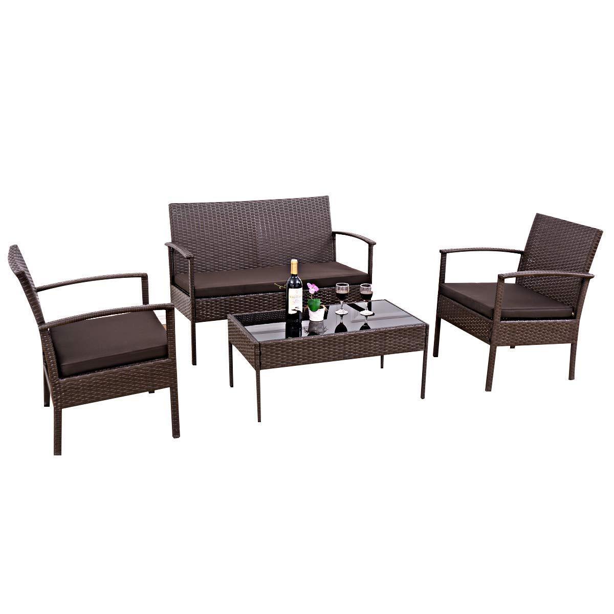Amazon.com: Tangkula Juego de muebles de ratán para ...