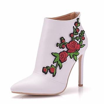 GAIHU Señoras mujer Botines Zapatos de novia boda blanca Puntilla Applique vestidos noche Tacón puntiagudo primavera