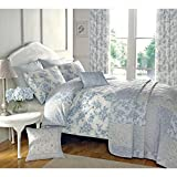 French Country Toile Duvet Cover with Florals & Reversible Patchwork Stripes Blue Double