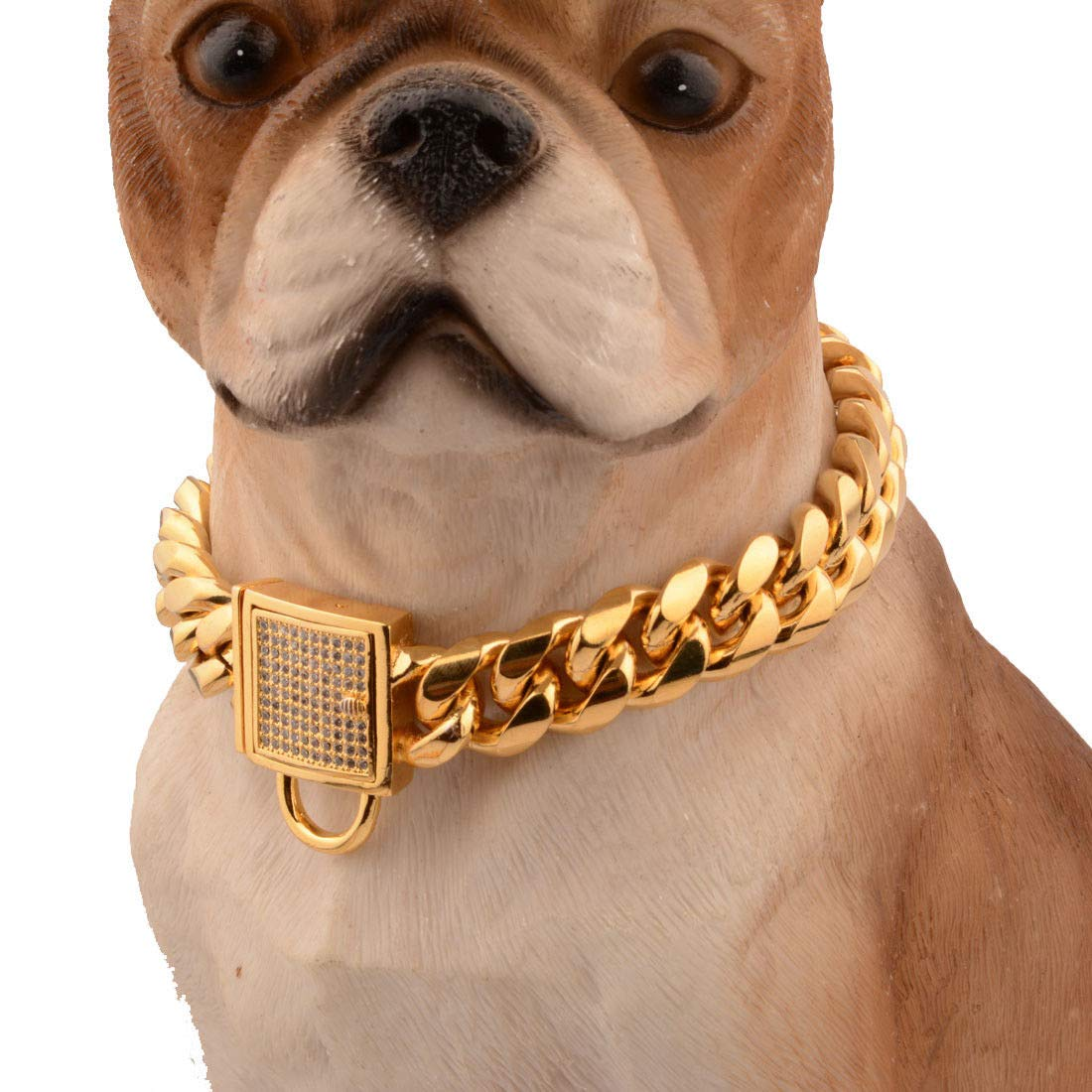 14inches FidgetFidget 14mm gold Stainless Steel Curb Chain Pet Dog Choker Collar redtweiler Pit Bull 14inches