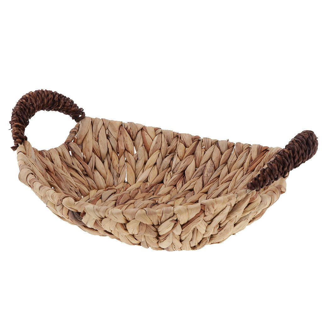 Fityle Home Office Rattan Wicker Woven Baskets Sundries Container Handmade Weave - Oval