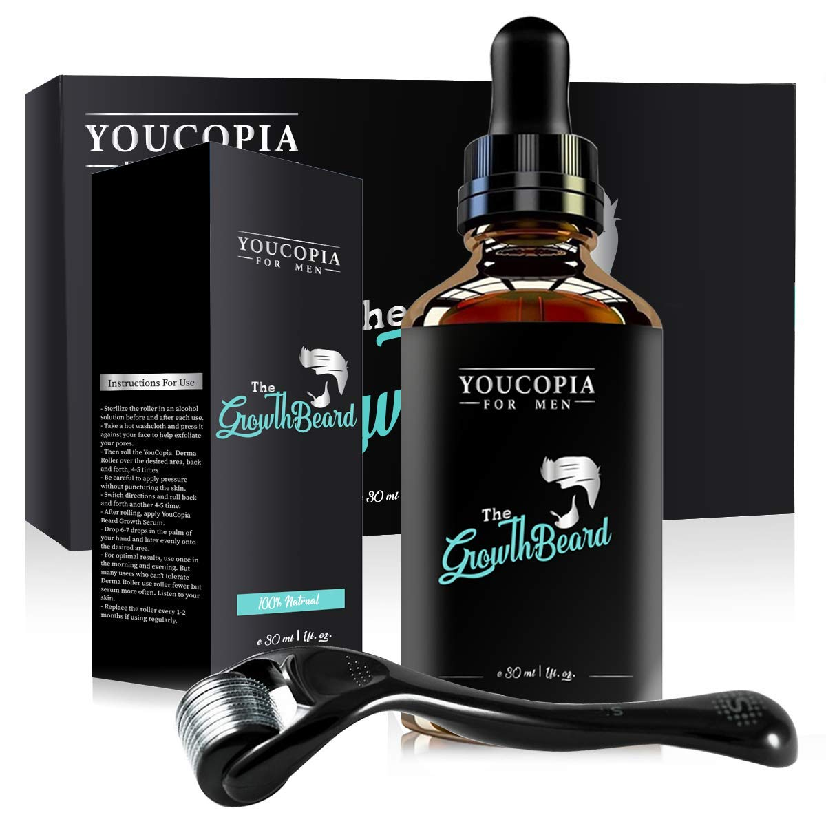 YouCopia Beard Hair Growth Kit and Beard Growth Oil and for Giving The Hair Follicles Proper Stimulation and Beard Growth Factors are Better Absorbed, Beard Oil Growth and Tool