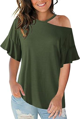 Style Dome - Blusa para mujer, sexy, sin hombros, parte superior descubierta, media manga, elegante, túnica Z Grün-999422 42: Amazon.es: Ropa y accesorios