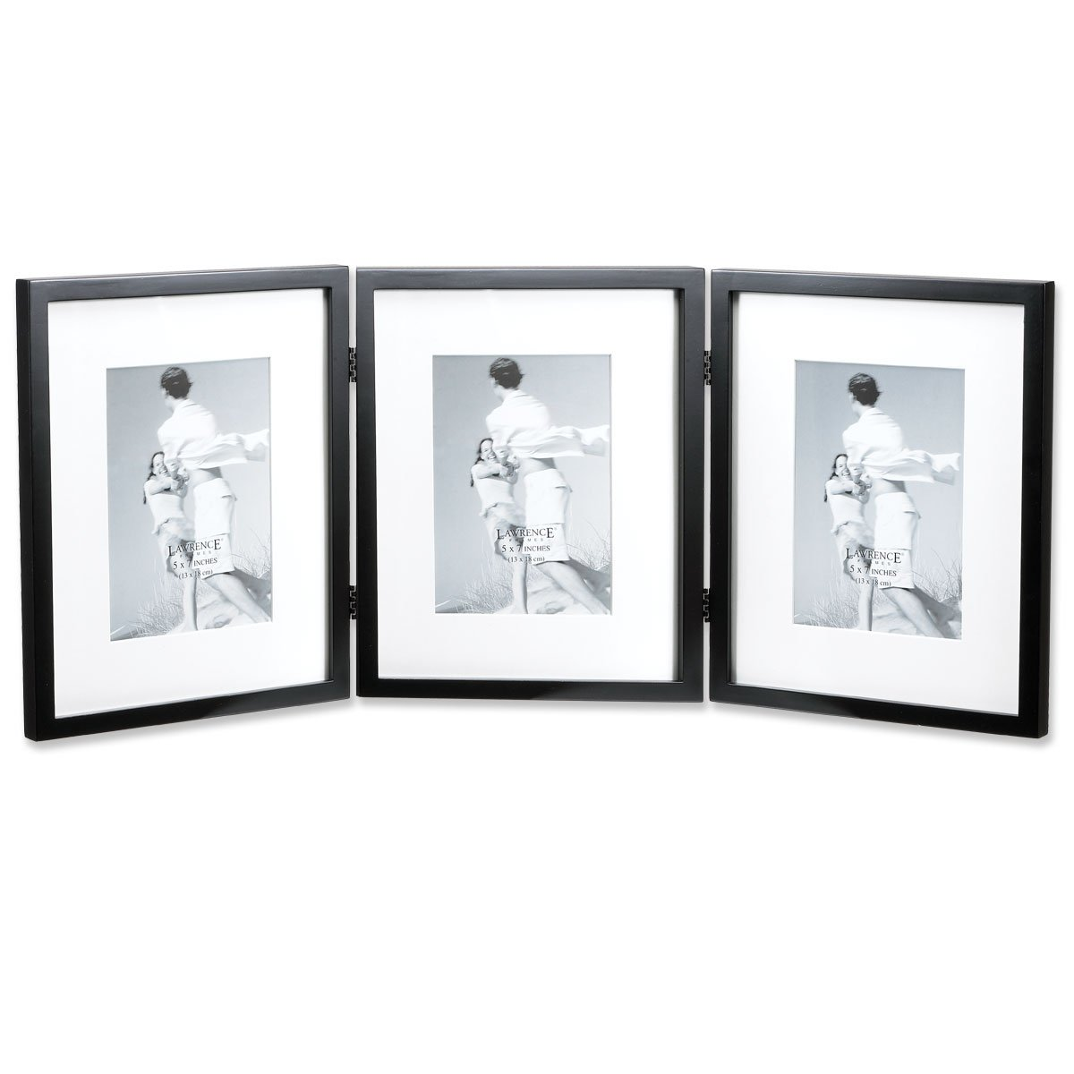 Amazon lawrence frames black wood 8 by 10 inch hinged triple amazon lawrence frames black wood 8 by 10 inch hinged triple picture frame comes with bevel cut mats for 5 by 7 inch photos jeuxipadfo Gallery