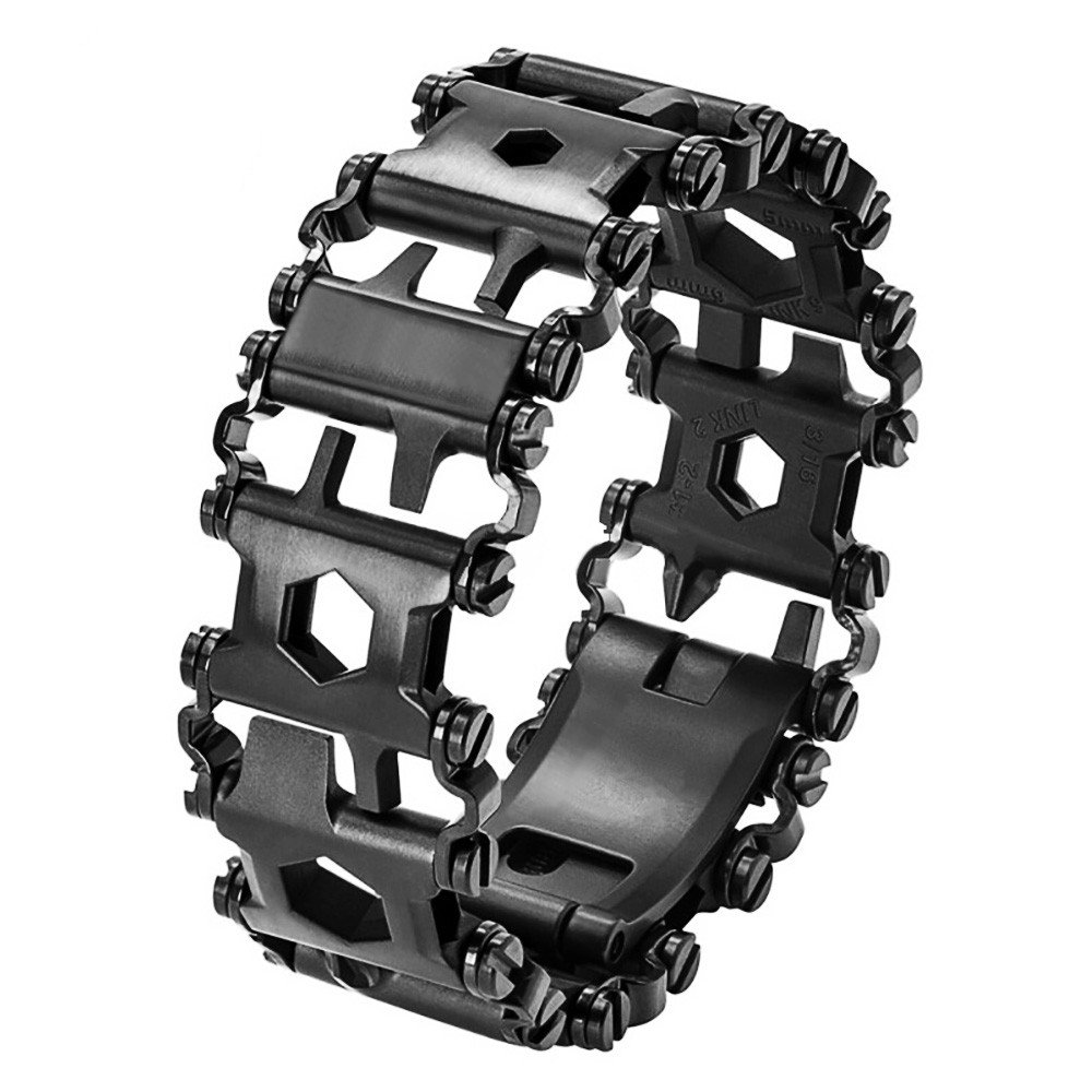 Multi Tool Bracelet,LETIN Stainless Steel Wearable Tread Multifunctional 29 IN 1 Bracelet Screwdriver Tool for Sailing/Travel/Camping Hiking Outdoor Emergency Kit for Christmas Gift (Black) by LETIN