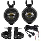 KKmoon 2pcs Motorcycle Headlight LED Fog Light Protect Guards with Wiring Harness For BMW R1200GS F800GS