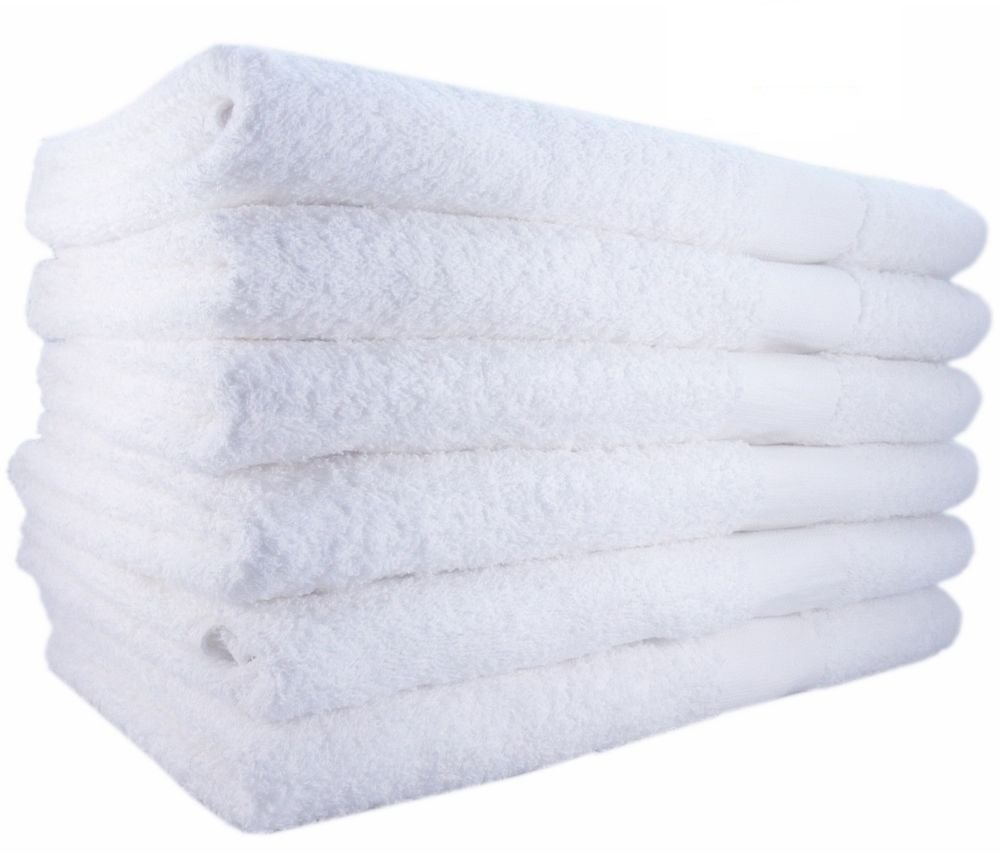 "Globe House Products GHP 90-Pcs Solid White 20""x40"" Durable Poly Cotton Soft and Absorbent Bath Towels"