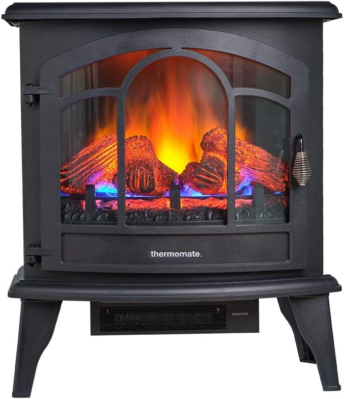 thermomate Electric Fireplace Stove, 23 Inches Portable Freestanding Fireplace with Remote Controller, Realistic Flame and Logs Vintage Design for Home and Office, CSA Approved Safety