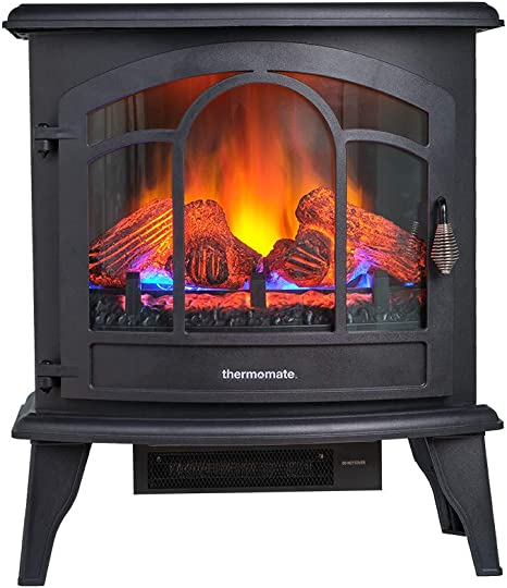 Thermomate Electric Fireplace Stove 23 Inches Portable Freestanding Fireplace With Remote Controller Realistic Flame And Logs Vintage Design For Home And Office Csa Approved Safety Home Kitchen