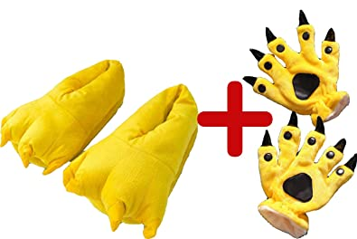 Amazon.com: Zapatillas de huellas de animales + guantes de ...