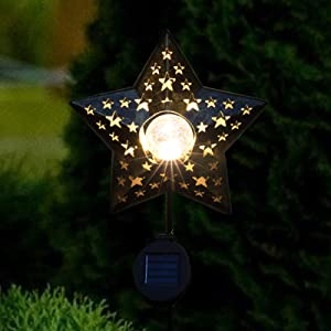 pearlstar Star Solar Pathway Lights Outdoor - Solar Lights Outdoor Decorative Waterproof with Warm White Led Crackle Glass Globe Stake Light for Garden Yard Patio Lawn Driveway Landscape (1 Pack)