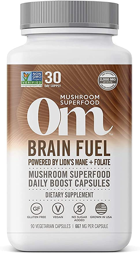Om Brain Fuel Mushroom Capsules, Lions Mane, Reishi Blend Plus Folate, Mental Clarity, Mushroom Supplement, 90 Count (30 Day Supply), Vegan