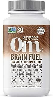 product image for Om Brain Fuel Mushroom Capsules, Lions Mane, Reishi Blend plus Folate, Mental Clarity, Mushroom Supplement, 90 Count (30 Day Supply), Vegan