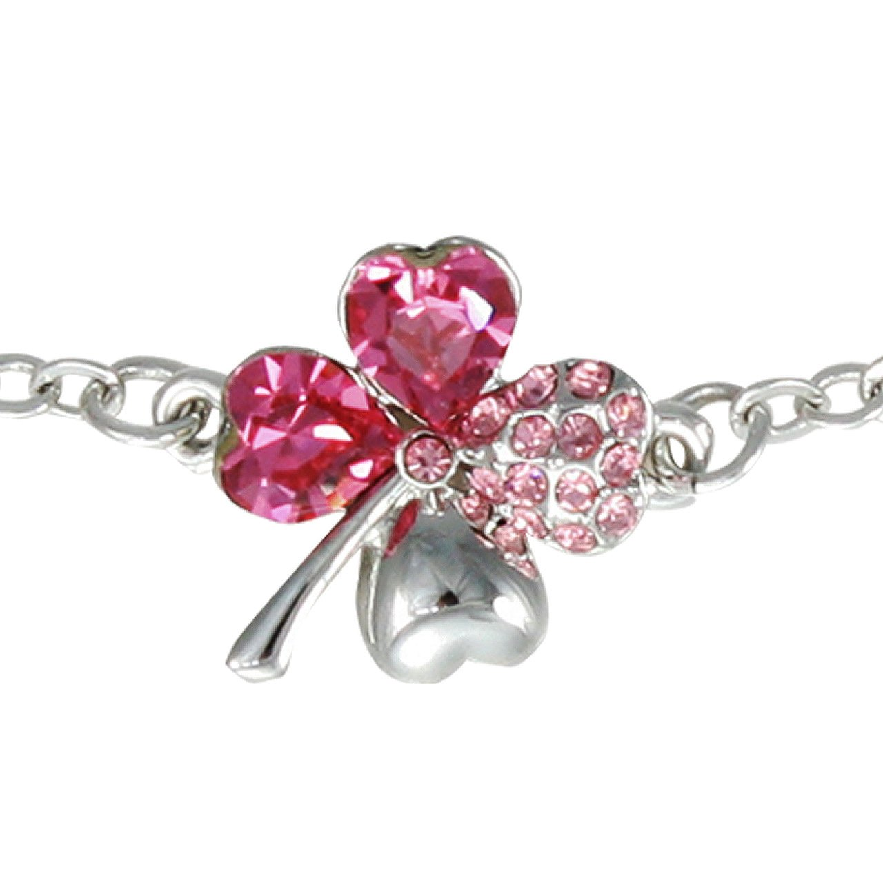 7aec0b3510bbf Dahlia Four Leaf Clover Heart Crystal Rhodium Plated Bracelet with Crystals  from Swarovski
